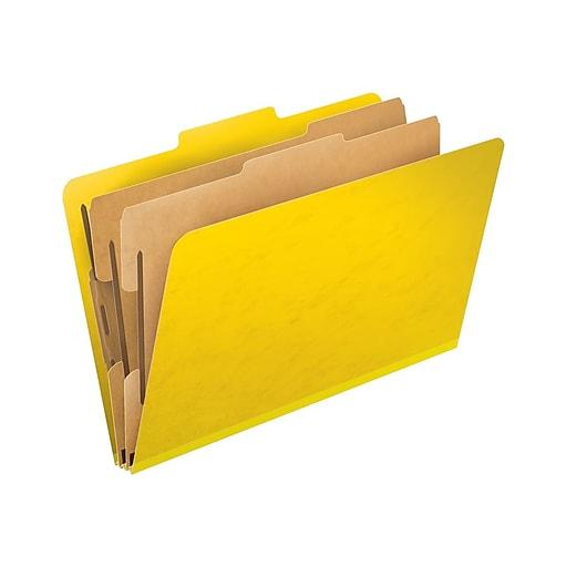 Pendaflex Pressguard Classification Folders, Legal, 2 Dividers/6 Section, Yellow, 10/Box (PFX2257Y)