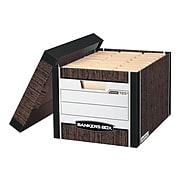 Bankers Box R-Kive® Heavy-Duty FastFold File Storage Boxes, Lift-Off Lid, Letter/Legal Size, Woodgrain, 12/Carton (00725)