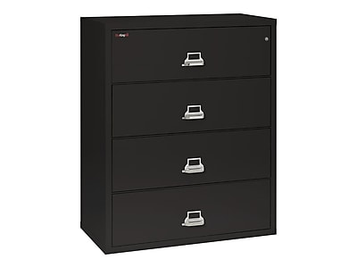 FireKing Classic 4-Drawer Lateral File Cabinet, Fire Resistant, Letter/Legal, Black, 44.5