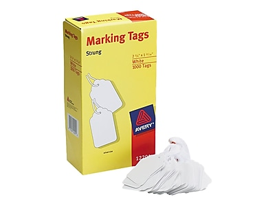 "Avery Marking Pre-Wired Tags, 1.69""H x 2.75""W, White, 1000/Box (12201)"