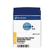 """First Aid Only SmartCompliance 1.75""""W x 2""""L Fingertip Metal Detectable Bandages, 20/Box (FAE-3040)"""