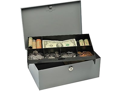 MMF Industries STEELMASTER Cash Box, 6 Compartments, Gray (221618201)