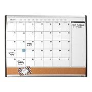 Staples 2'W x 1.5'H Magnetic Cork & Dry Erase Calendar Whiteboard, Black/Silver Frame (52487/28214)