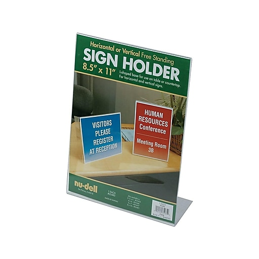 """NuDell Sign Holder, 8.5"""" x 11"""", Clear Plastic (35485)"""