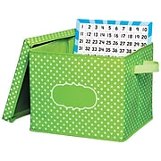 """Teacher Created Resources Lime Polka Dots Storage Box with Lid, 12"""" x 13"""" x 10.5"""" (TCR20820)"""