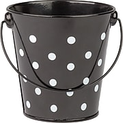 Teacher Created Resources Polka Dots Pail with Handle, Black, Pack of 6 (TCR20825)