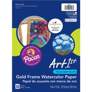 "Pacon Art1st® Watercolor Paper, 9"" x 12"", Gold Frame, 30 Sheets Per Pack, 3 Packs (PAC4926)"