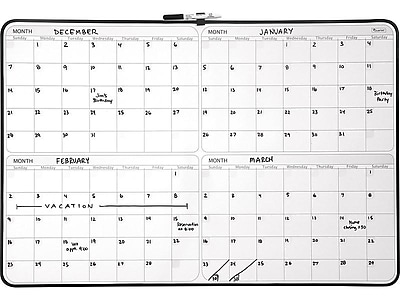 Staples 4 Month Dry Erase Planner Board Black Frame 23 X 35
