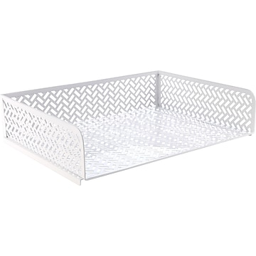 Staples Stackable Front Loading Letter Tray, Letter Size, White Metal (26846)