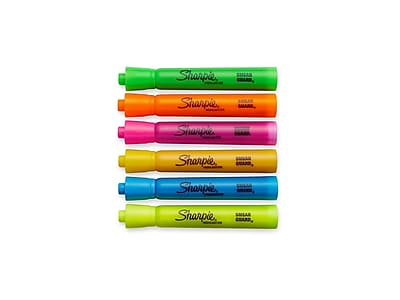 Sharpie Tank Highlighters, Chisel, Assorted Colors, 6/Pack (25076)