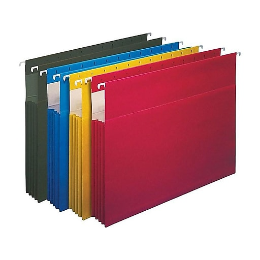 """Staples Hanging File Folders, 3.5"""" Expansion, Letter Size, Assorted, 4/Pack (419192)"""