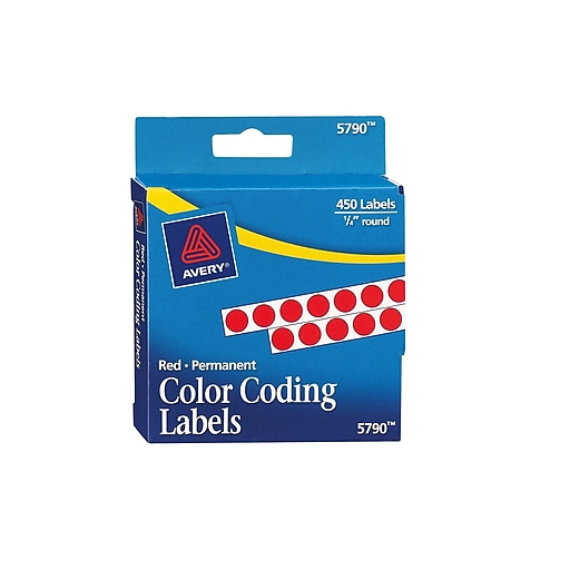 avery 5790 round 1 4 diameter color coding labels red 450 pack