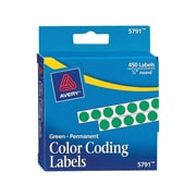 """Avery  05791 Permanent Self-Adhesive Round Color-Coding Label, Green, 1/4""""(Dia), 450/Pack"""