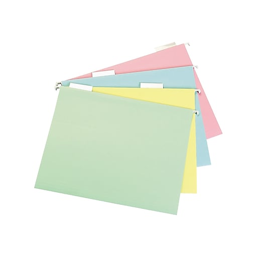 Staples Pastel Hanging File Folders, 5 Tab, Letter Size, Assorted, 20/Box (459686)