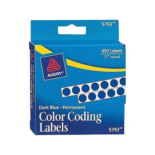 "Avery Hand Written Identification & Color Coding Labels, 1/4"" Dia., Dark Blue, 450/Pack (5793)"