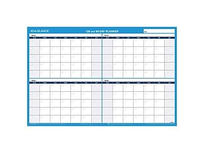 "Undated AT-A-GLANCE 24""H x 36""W Wall Calendar, 90-120 Day, Blue (PM239 28)"