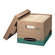 Bankers Box R-Kive Heavy-Duty Corrugated Boxes, Letter/Legal Size, Green/Kraft, 12/Carton (12775)