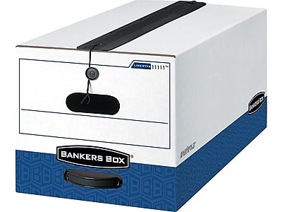 Bankers Box Liberty Plus Heavy Duty Corrugated Boxes with String & Button, Letter Size, White/Blue, 4/Carton (1111101)