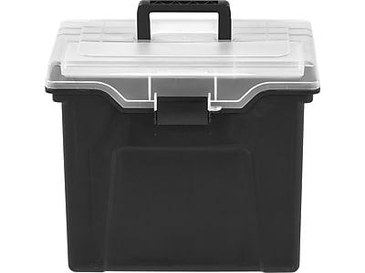 Staples® Portable File Box with Organizer Top, Black (110970)