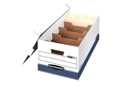 Bankers Box DividerBox Medium Duty Corrugated Boxes, Letter Size, White/Blue, 4/Carton (0083103)