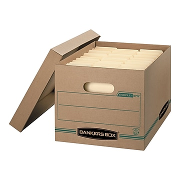 Bankers Box Stor/File 100% Recycled Corrugated File Storages Boxes, Lift-Off Lid, Letter/Legal Size, Brown, 12/Carton (1277601)