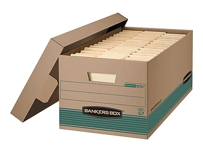 Bankers Box Stor/File Medium Duty Corrugated Boxes, Legal Size, Green/Kraft, 12/Carton (1270201)