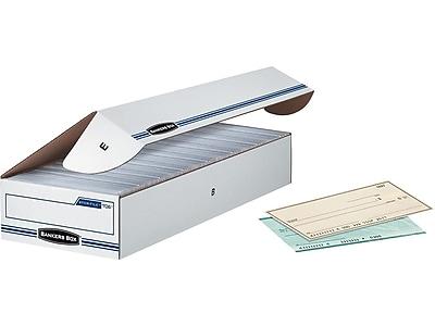 Bankers Box Stor/File Basic Duty Storage Boxes, Check Size, White/Blue, 12/Carton (00706)