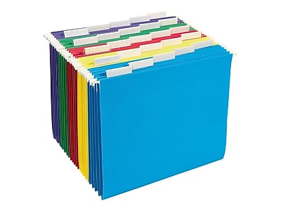 Staples Hanging File Folders, 5 Tab, Letter Size, Assorted, 25/Box (875411)