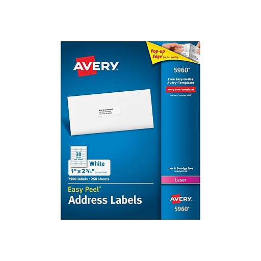 avery laser address labels with easy peel 1 x 2 5 8 white 7 500