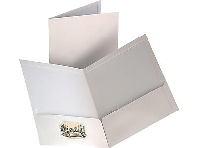 Staples 2-Pocket Laminated Folders, White, 10/Pack (13375-CC)