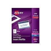 """Avery Laser/Inkjet Insert Refills ID Cards, 2 1/4"""" x 3 1/2"""", White, 400 Cards Per Pack (5390)"""