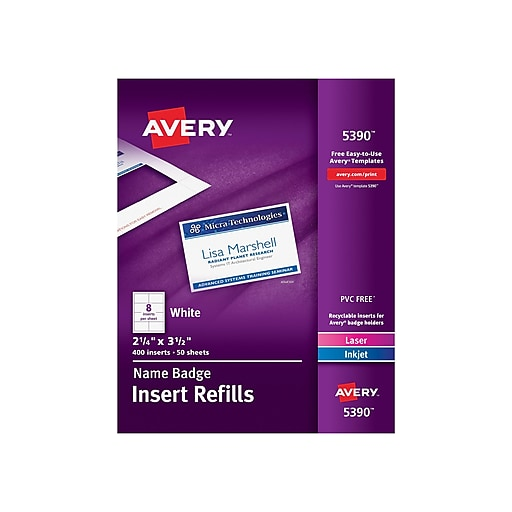 avery name tag insert sheets 2 1 4 x 3 1 2 staples