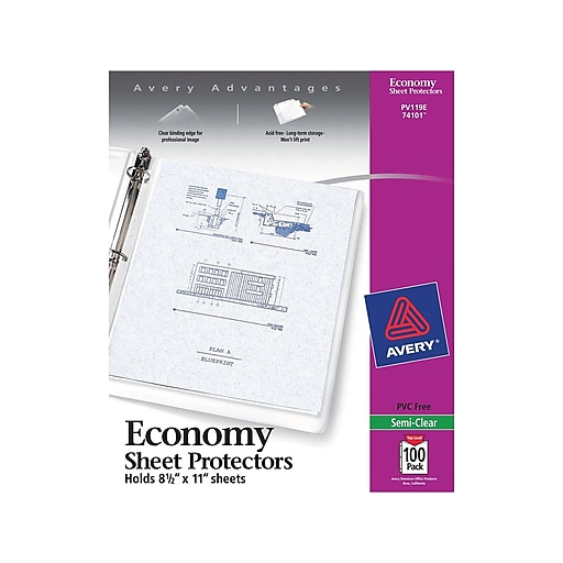 Avery® Semi-Clear Economy Weight Sheet Protectors, 100