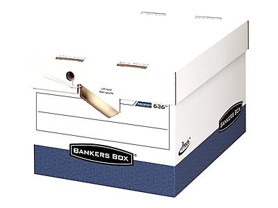 Bankers Box Presto Heavy Duty Corrugated Boxes, Letter/Legal Size, White/Blue, 12/Carton (0063601)