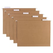 Sustainable Earth by Staples Hanging File Folders, 5 Tab, Letter Size, Natural Brown, 25/Box (16907)