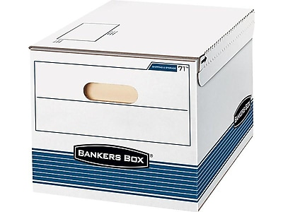 Bankers Box Medium Duty Shipping and Storage Corrugated Boxes, Letter/Legal Size, White/Blue, 12/Carton (0007101)
