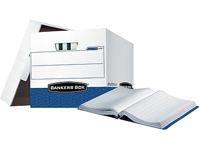 Bankers Box Data-Pak Heavy-Duty Corrugated Boxes for Computer Paper, White/Blue, 12/Carton (00648)