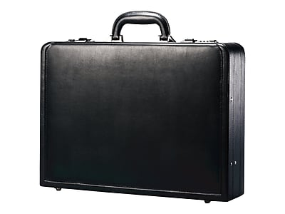 Samsonite Leather Expandable Attache, Black (431151041)