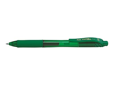 Pentel EnerGel-X RollerGel Retractable Gel Pens, Medium Point, Green Ink, Dozen (BL107-D)