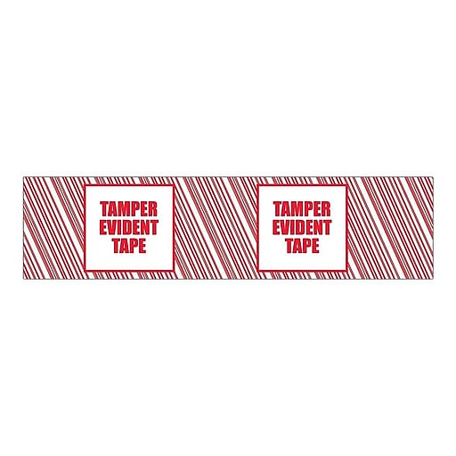 """SI Products Security Tape, 2"""" x 110 Yds., Red/White, 6/Pack (155RCP)"""