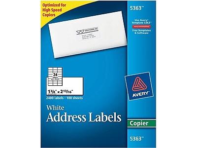 """Avery® 5363 White Copier Address Label, 1 3/8""""(W) x 2 13/16""""(L), 2400/Box"""