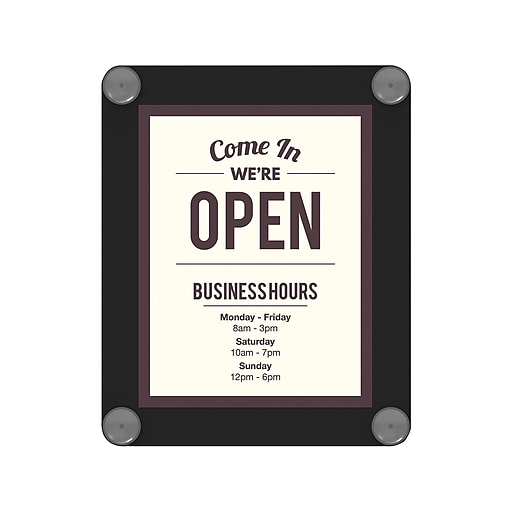 "Deflecto Sign Holder, 8.5"" x 11"", Clear/Black Plastic (899102)"