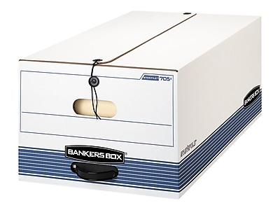 Bankers Box Stor/File Medium-Duty Corrugated Boxes with String & Button, Legal Size, White/Blue, 4/Carton (0070503)
