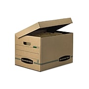 Bankers Box Systematic 100% Recycled Corrugated File Storage Boxes, Flip-Top Lid, Letter/Legal Size, Brown, 12/Carton (12772)