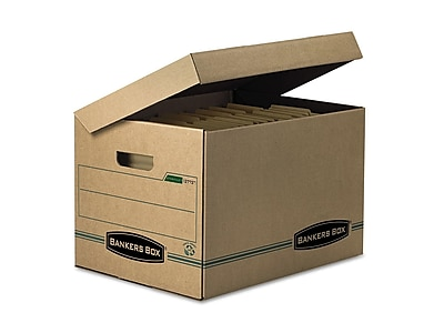 Bankers Box Systematic Basic Duty Corrugated Boxes with Attached Flip-Top Lid, Letter/Legal Size, Green/Kraft, 12/Carton (12772)