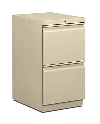 HON 2-Drawer Vertical File Cabinet, Mobile/Pedestal, Putty/Beige, Letter, 19.88
