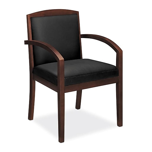 HON Topflight SofThread Leather Guest Chair, Black/Mahogany (BSXVL853NSB11) NEXT2019 NEXT2Day