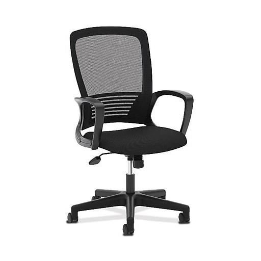 HON Mesh High-Back Chair, Center-Tilt, Fixed Arms, Black Frame, Black (BSXVL525ES10)