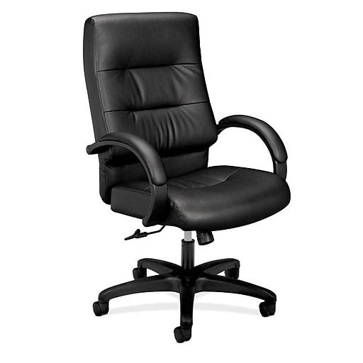 HON Client SofThread Leather Executive High-Back Chair, Center-Tilt, Fixed Arms, Black (BSXVL691SB11)