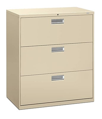 """HON Brigade 600 Series 3 File Drawers Lateral File Cabinet, Locking, Putty/Beige, Letter/Legal, 36""""W (H683LL) NEXT2019 NEXT2Day"""